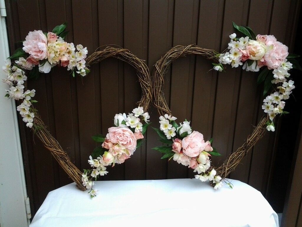 Wedding Decorations Matching Pair Of Grapevine Hearts Decorated