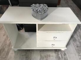 White shabby chic tv stand with crystal handles