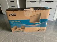 """Brand new AOC E2470SW 24"""" FULL HD monitor screen display BOXED"""
