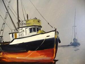 Listed Artist, Original Oil, Fishing Boat by Egbert Oudendag, Stratford Kitchener Area image 5