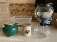 Various pots , coffee perculator