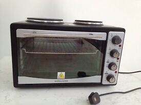 Andrew James 33 litre black mini oven and grill with 2 hot plates