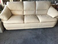 3 Seater & 2 Seater cream leather sofas - excellent condition