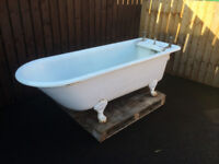 LARGE CAST IRON BATH WITH LION FEET FROM SHARK/CO BRASS TAPS SEA SHELL SOAP DISH