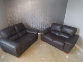 Dark brown leather sofa 2x2 seaters