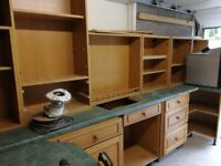 Used solid oak kitchen units with integrated appliances