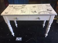 Upcycled solid pine Decoupage 2 draw Side table