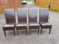 4 Dark Brown Faux Leather Chairs FREE DELIVERY 676