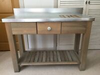 Aldsworth spruce and zinc potting table.