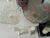 2 glass cake stands.
