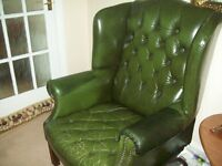 REDUCED PRICE Dark green Leather Chesterfield Arm Chair