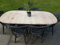 LOCAL DELIVERY Farmhouse OVAL pine 6ft extending DINING TABLE + 6 CHAIRS Charcoal Grey shabby chic
