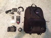 Canon SLR, Canon 50mm 1.8 lens, canon flash plus much more