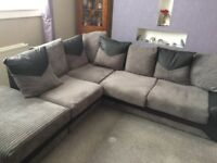 Grey & Black Corner Sofa