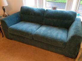 2no 3 seater couches (blue cord) pristine condition