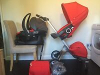 Stokke Xplory Pushchair with Stokke car seat and ISO-fix base for car plus accessories
