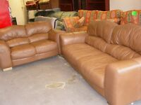 Tan Brown Leather 3 and 2 Seater Sofas Settees. 2 Piece Suite. Excellent Condition