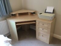 Computer desk and drawers and printer