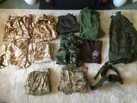 Bundle of Ex British Army Military Clothing - Jackets - Trousers - Fleece - Overalls inc MTP