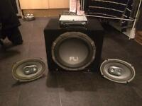 Subwoofer/amp/Sony CD player/parcel shelf speakers