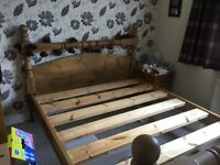 Chunky old English king size bed with 12 month old matress
