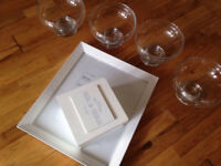 Wedding Decorations! 4 Glass fish bowls, white photo frame, memento box