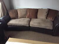 Large 3 seater and 4 seater matching pillow backed sofa