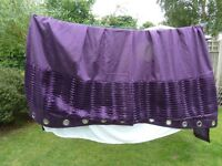 """Stunning pair of large ring top curtains, as new, unmarked. 90"""" x 90"""". Lovely detailing."""