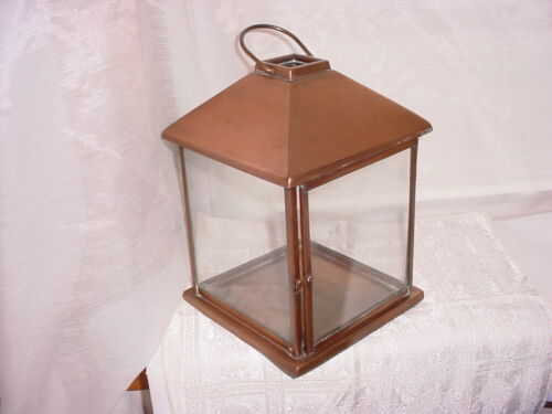 Weighty Copper Metal Glass Candle Lantern