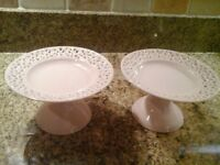 2 Pale Pink Pot Dishes