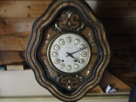 VERY OLD LARGE FRENCH 8 DAY WALL CLOCK IN ORIGINAL CONDITION £120ono