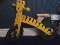 Wooden Tiger balance bike