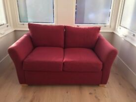 Quality small 2 seater dark red sofa