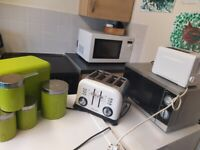 Kitchen lot microwave X2 toasters etc