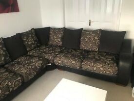 Large SCS Corner Sofa / couch + Footstool. Huge discount as must go ASAP!