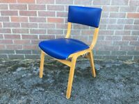 Vintage Bent Ply Wooden Stacking Adult Size Church Chair Blue Vinyl 5 Available