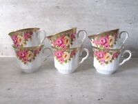 6 Stunning Vintage China Tea Cups Wedding Tea Party