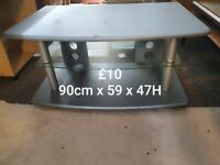 grey wood tv stand with glass shelve