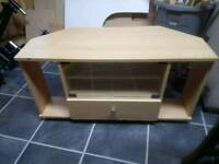 Wood tv stand with glass front
