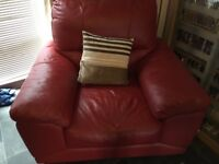 2 seater red leather sofa and matching armchair
