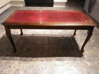 Regency Reproduction Glass Topped/Red Leather Coffee Table