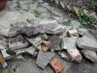 Broken slabs and broken bricks