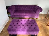 Mulberry purple 3 seater velvet chesterfield sofa