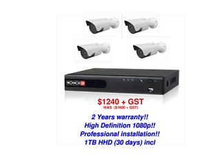 4 * 1080p High Definition CCTV cameras fully installed $1240 +GST Cheltenham Kingston Area Preview