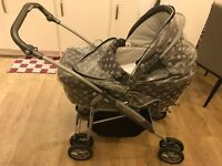 3 in 1 Buggy and Moses Basket and additional mattress for Buggy