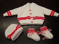 Beautiful hand knit new baby set cardigan hat and bootees white and red