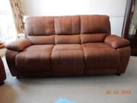 Two identical three seater sofas in Saddle Brown Roma Fabric - price is for BOTH