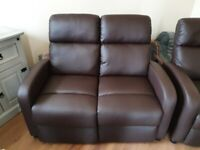 Chocolate brown leather manual recliners