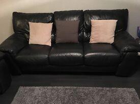 3&2 BLACK leather sofa