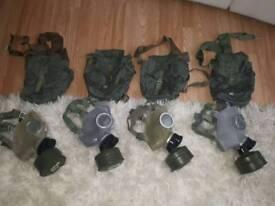Vintage gas masks and bag